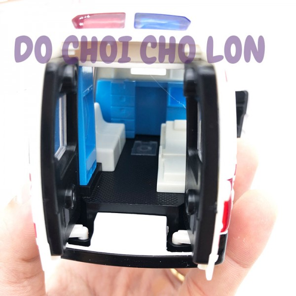 Hộp đồ chơi xe cứu thương bằng sắt chạy trớn có đèn nhạc 8909B