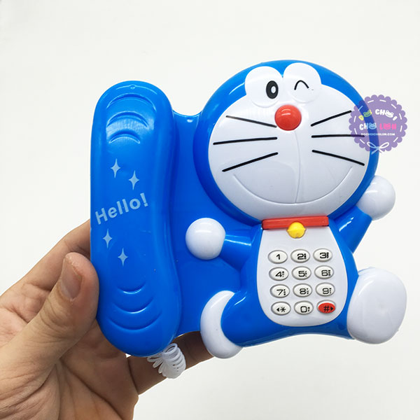 Vỉ đồ chơi điện thoại bàn Doraemon dùng pin có đèn nhạc