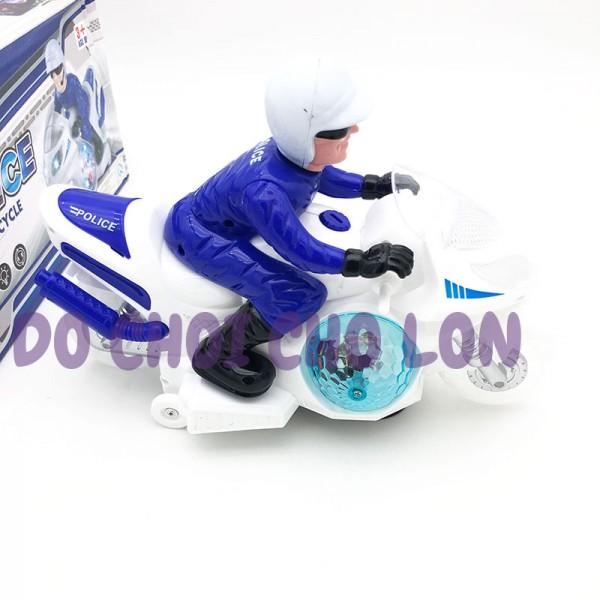Hộp đồ chơi xe mô tô cảnh sát bánh đèn 3D trái châu có nhạc 588-1