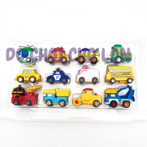 Hộp đồ chơi 12 xe Robocar Poli bằng nhựa chạy trớn P7