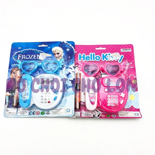 Vỉ đồ chơi điện thoại bàn mắt kiếng cho bé gái + kèm 2 pin WH-041H