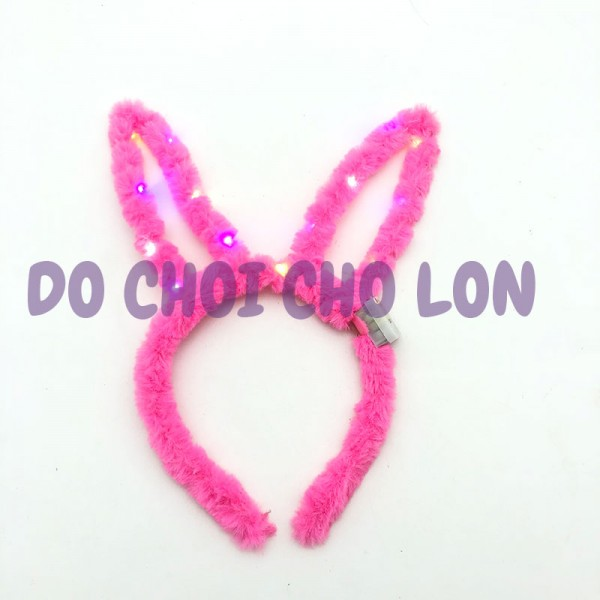 Băng đô cài tóc tai thỏ có đèn nhấp nháy bằng bông mềm