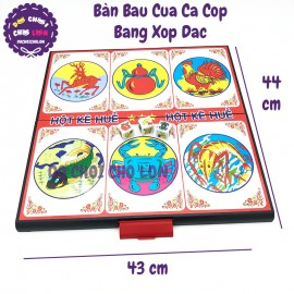 Trò chơi BÀN lắc bầu cua cá cọp xúc xắc bằng xốp SIZE 44x43 cm
