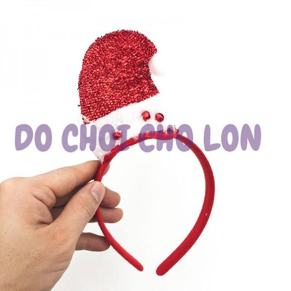 Băng đô cài tóc hình nón Noel có chuông lắc bằng vải nỉ