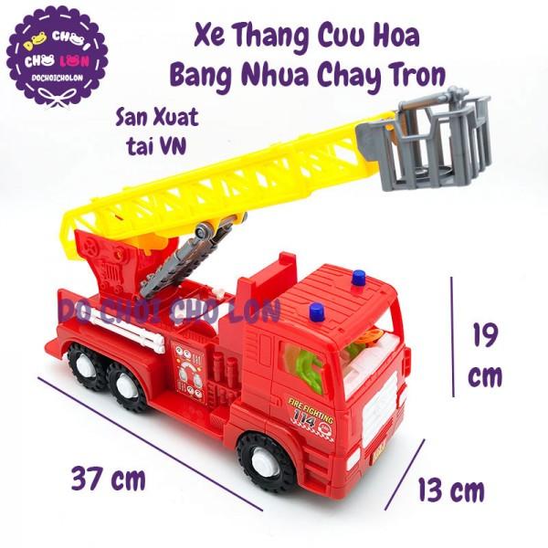 Đồ chơi xe thang cứu hỏa FT-015 bằng nhựa chạy trớn size 37x13x19cm