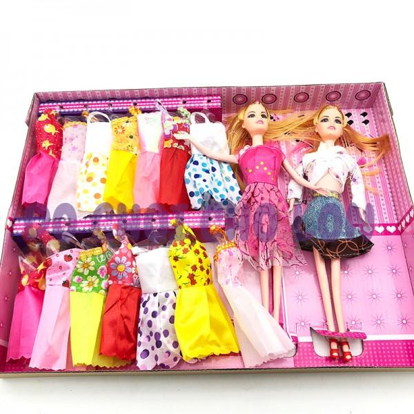 Hộp đồ chơi 2 búp bê bằng nhựa & 14 bộ váy đầm D2022C