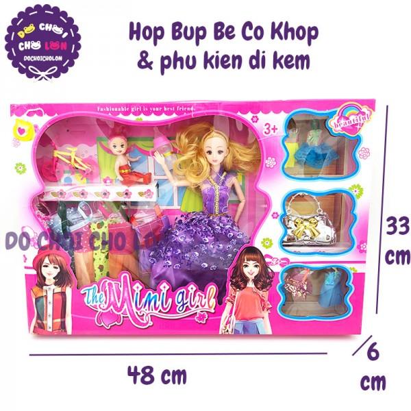 Hộp đồ chơi búp bê có khớp bằng nhựa & phụ kiện 8439