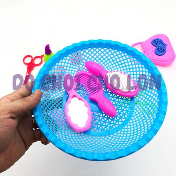Đồ chơi rổ bé tập làm tóc 12 món bằng nhựa 6969