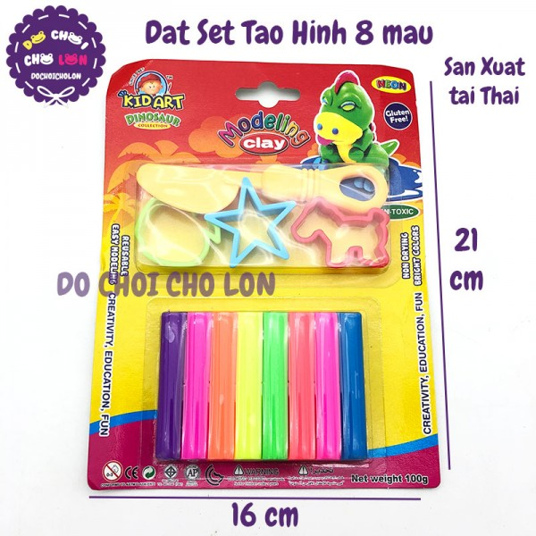 Vỉ đất sét nặn tạo hình 8 màu Thái Lan kèm khuôn và dao cắt