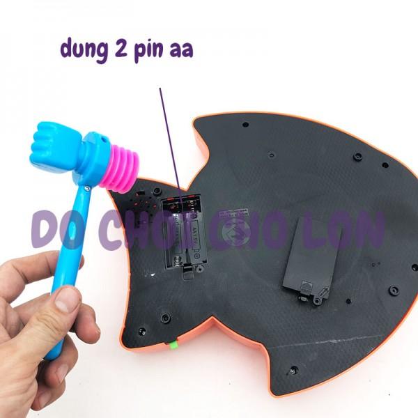 Hộp đồ chơi đập chuột hình con CÁ phát nhạc dùng pin