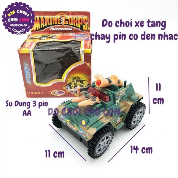 Đồ chơi mô hình xe tăng chạy pin 4 bánh có đèn nhạc 206L