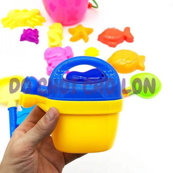 Đồ chơi xô xúc cát đi biển hình con CÁ 13 món bằng nhựa túi lưới