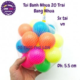Đồ chơi bóng nhựa nhiều màu 20 trái túi lưới size 5.5 cm