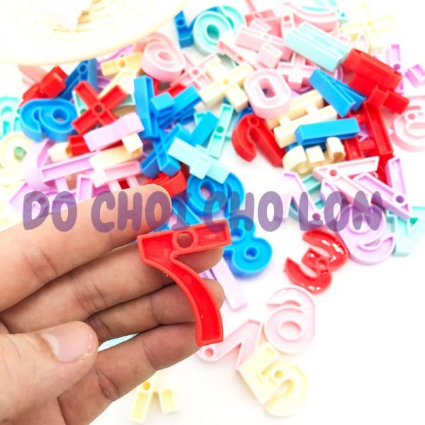 Bộ đồ chơi rổ đựng số toán học xếp hình bằng nhựa 102 mãnh LT966