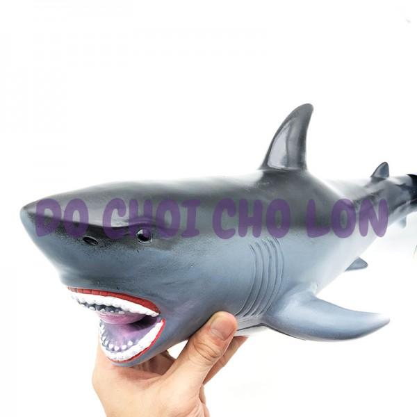 Đồ chơi mô hình cá mập trắng bằng nhựa mềm nhồi bông có nhạc 0011