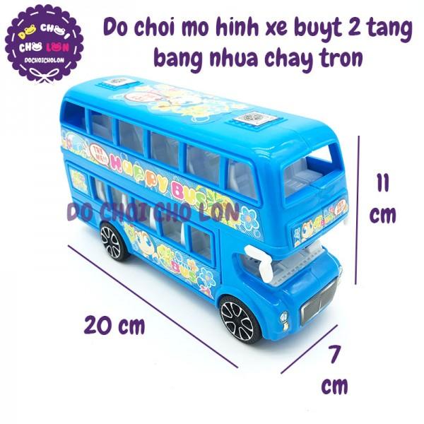 Đồ chơi mô hình xe buýt 2 tầng bằng nhựa chạy trớn