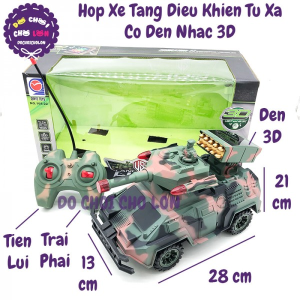 Hộp đồ chơi xe tăng phòng thủ tên lửa điều khiển từ xa đèn nhạc 3D 168-22