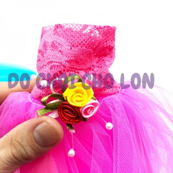 Váy đầm cưới cô dâu, đầm dạ hội 2 lớp cho búp bê cao 30 cm