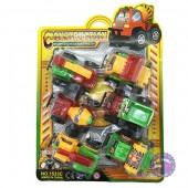 Vỉ đồ chơi 6 xe công trình bằng nhựa chạy trớn