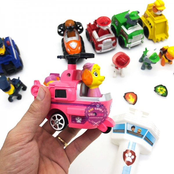 Bộ đồ chơi 6 chó cứu hộ Paw Patrol, 6 xe máy bay và huy hiệu