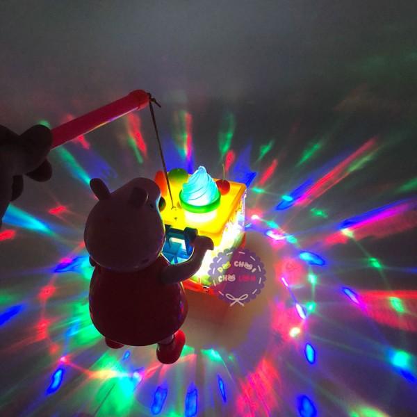 Lồng đèn trung thu heo Peppa Pig đẩy xe kem dùng pin có đèn nhạc