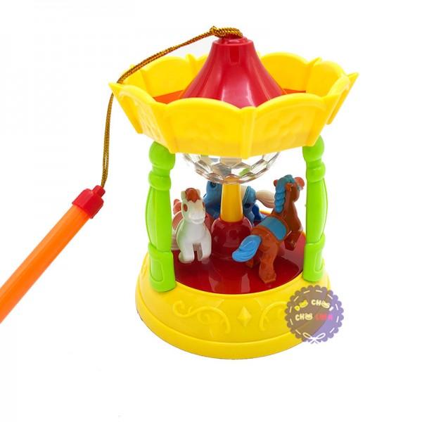 Lồng đèn trung thu mái đình 3 chú ngựa dùng pin có đèn nhạc