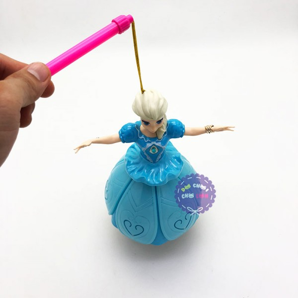 Lồng đèn trung thu công chúa Elsa đầm nhựa xòe dùng pin có đèn nhạc