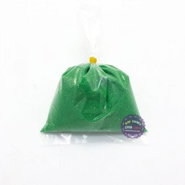 Bịch cát mịn kim tuyến 200 gram màu xanh lá dùng để tô tranh cát