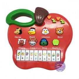 Hộp đồ chơi đàn organ hình trái táo dùng pin có nhạc đèn