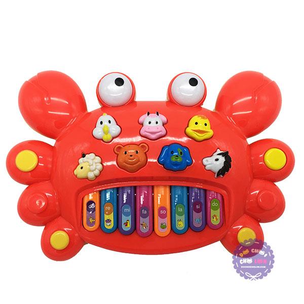 Hộp đồ chơi đàn organ hình con cua dùng pin có nhạc đèn