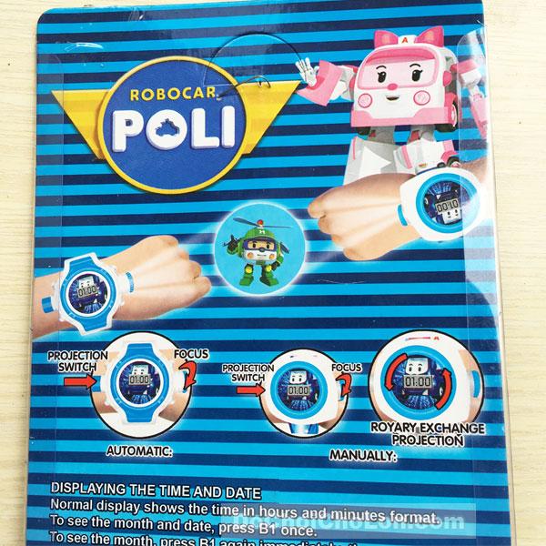 Vỉ đồ chơi đồng hồ Robocar Poli chiếu hình ảnh lên tường