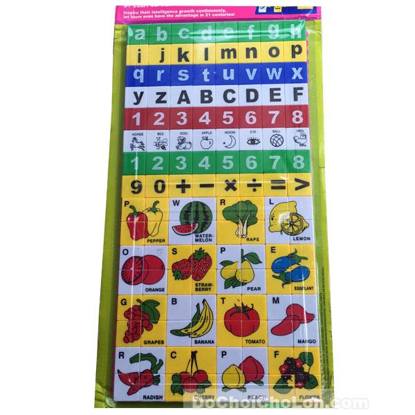 Vỉ đồ chơi xếp hình học chữ và số tiếng Anh 128 mảnh