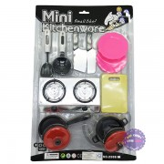 Vỉ đồ chơi nấu ăn Mini Kitchenware 2 nồi đỏ đen bằng nhựa