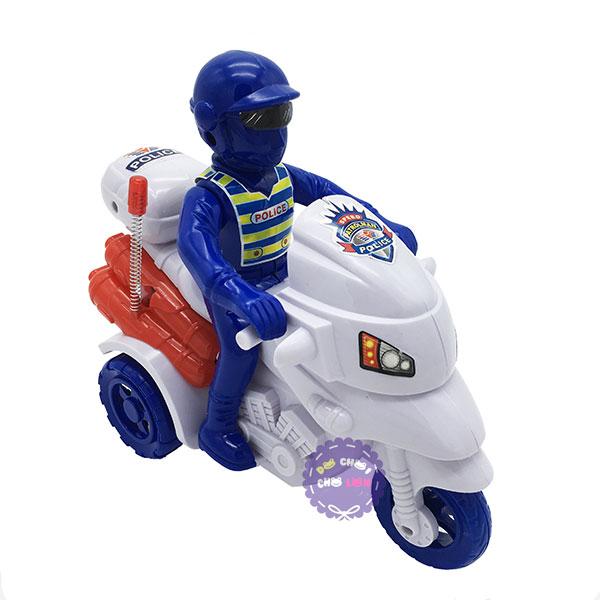Đồ chơi xe mô tô cảnh sát 3 bánh bằng nhựa chạy bằng dây cót