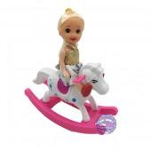 Đồ chơi búp bê bé gái cưỡi ngựa bập bênh