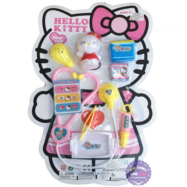 Vỉ đồ chơi bác sĩ 7 món dụng cụ y tế & mèo Hello Kitty