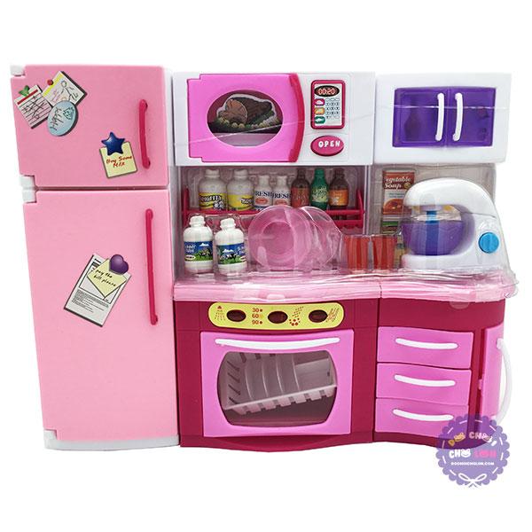 Hộp đồ chơi nhà bếp: lò nướng, tủ bếp, tủ lạnh máy đánh trứng dùng pin