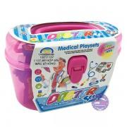 Hộp đồ chơi vali bác sĩ hồng 18 món dụng cụ y tế