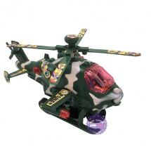 Hộp đồ chơi máy bay trực thăng quân đội nâu chạy pin có đèn nhạc