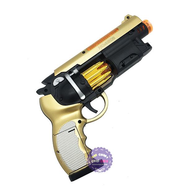 Hộp đồ chơi súng lục ngắn ổ xoay ru lô dùng pin có đèn nhạc