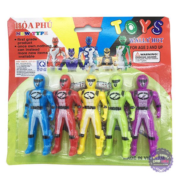Vỉ đồ chơi 5 anh em siêu nhân mini bằng nhựa
