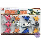 Vỉ đồ chơi 12 mô hình máy bay chiến đấu bằng nhựa chạy trớn