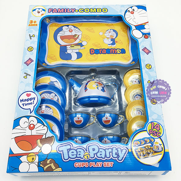 Hộp đồ chơi ấm tách uống trà Doraemon 14 món bằng Inox