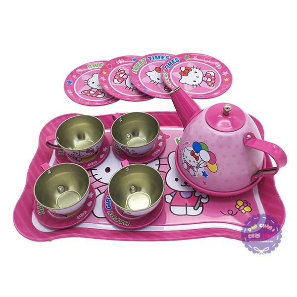 Hộp đồ chơi ấm tách uống trà Hello Kitty 14 món bằng Inox