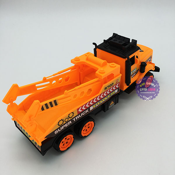 Đồ chơi xe cẩu 2 móc 6 bánh bằng nhựa chạy trớn 6006D