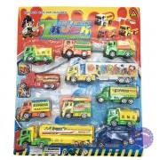 Vỉ đồ chơi 11 xe tải chở hàng hóa bằng nhựa chạy trớn