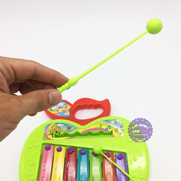 Đồ chơi đàn gõ Xylophone hình trái táo 7 thanh bằng sắt