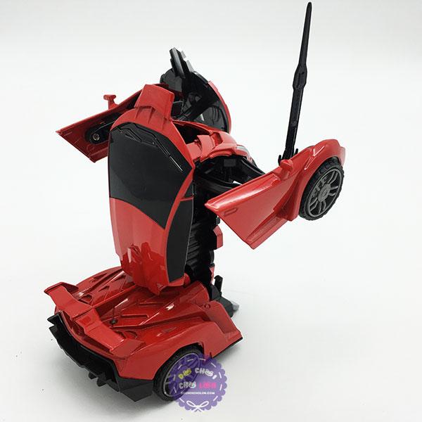 Hộp đồ chơi robot biến hình thành xe có nhạc đèn bằng sắt chạy trớn