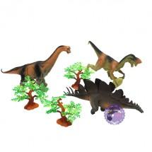 Bộ đồ chơi 3 chú khủng long đại & 3 cây bằng nhựa Dinosaur
