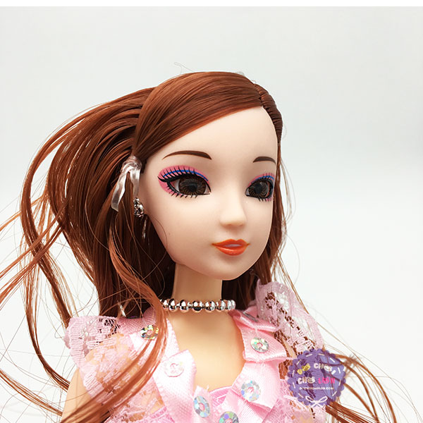 Đồ chơi búp bê gái mặc đầm dài mắt thủy tinh 11 khớp nối